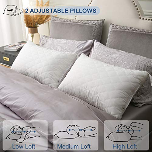 - JOLLYVOGUE 2 Pack Bed Pillows for Sleeping-Hypoallergenic Adjustable Pillow-Down Alternative Sleeping Pillows with Soft Plush Fiber Fill for Back, Stomach, Side Sleepers-Standard Size(18X26Inches)