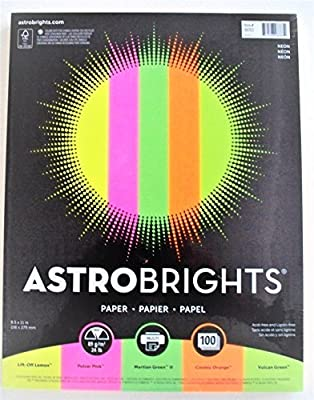 Astrobrights Neon Color Paper Assortment, 24 lb, 8.5 x 11 Inches 100 pages