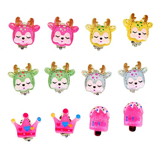 Cartoon Deer Crown Popsicle Clip On Earrings for Kids Teen Girls Party Wear or Gift Set of 6 Pairs for $<!--$9.99-->