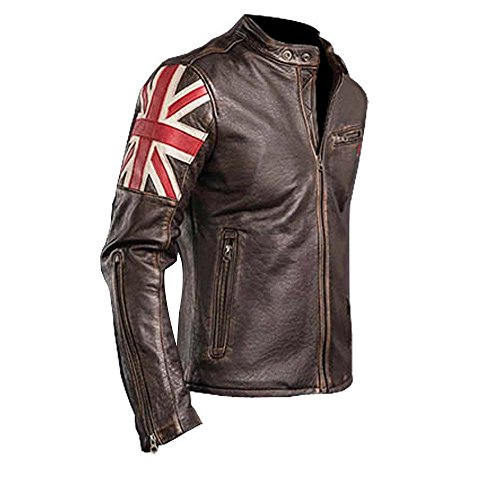 SALTONI UK Flag Men's Biker Vintage Style Motorcycle Cafe Racer Leather Jacket (XXL)