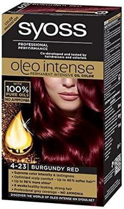 Syoss Oleo Intense Tinte para el cabello 100% aceites puros, 0% amoníaco 4-23, rojo burdeos