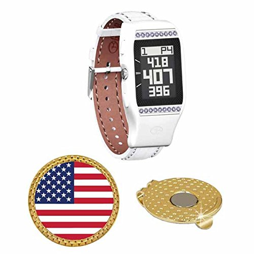 GolfBuddy LD2 Golf GPS/Rangefinder Watch with Swarovski Crystal (40k+ Preloaded Worldwide Courses) Bundle with Magnetic Hat Clip Ball Marker (USA Flag) by Amba7