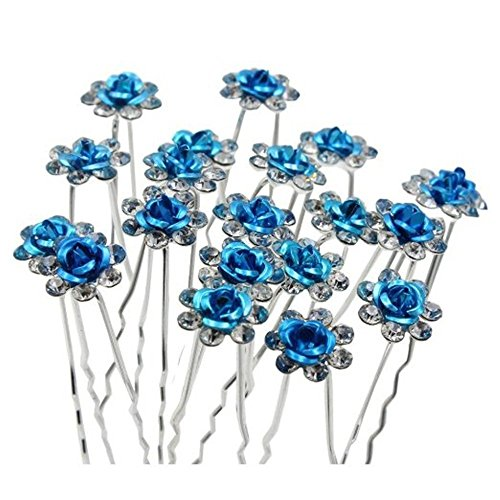 Happy Hours - 20Pcs Handmade U-Shaped Pearl Rose Flower Rhinestone Crystal Hair Pins Clips Barrette for Prom Party Wedding Bridal Bridesmaid Jewelry - Triangle Shaped Face