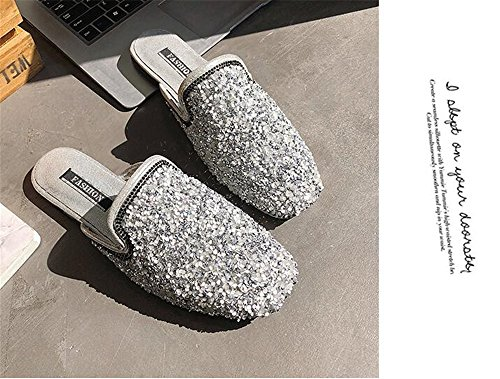 Slip Trimmed Toe Ruffle Backless On Slippers Flats COLOV Mules Sandals 1 Pointed Women Silver Slides Women's for W0qBI