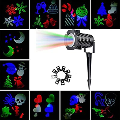 Christmas Light Projector, LOHASLY Rotating Night Light Projector Snowflake Spotlight, 10 Slides Multi Dynamic Lighting Landscape Led Projector Light Show for Halloween, Party, Multi