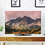 iPrint LCD TV Cover Multi Style,Fall Decorations,Idyllic Mountain with Snowy Peaks and Hazy Cloudy Sky on The High Valley Decor,Multi,Customizable Design Compatible 60'' TV