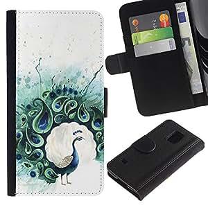 Billetera de Cuero Caso Titular de la tarjeta Carcasa Funda para Samsung Galaxy S5 V SM-G900 / Peacock Feather Painting Bird / STRONG