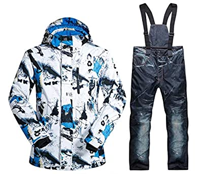 OLEK Men's Waterproof Ski Snowboarding Jacket Windproof Snow Snowboard Coat and Pants Set