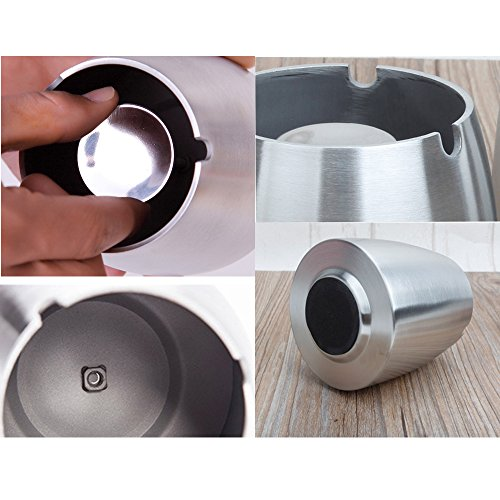 OILP X Large Ashtray Outdoor Windproof Ashtray Stainless Steel Cigarette Ashtray for Patio Outside Home Office (X-Large,Silver)