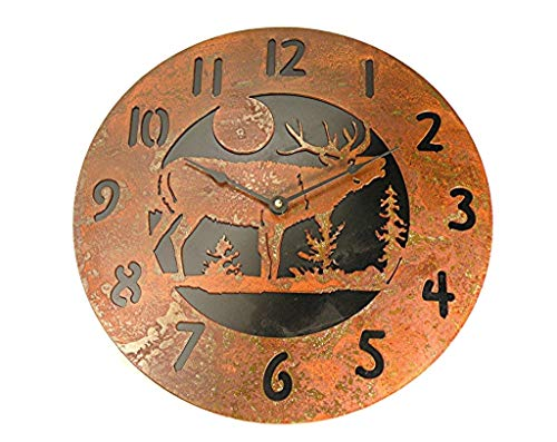 Wall Clock Elk Rustic Rusted Metal Black Back Plate 14