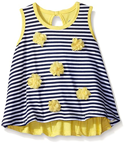 Gerber Graduates Little Girls' Toddler Sleeveless Swing Top with Rosettes, Navy Stripe, 4T