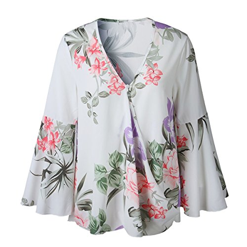 Floral Tunique T Flare T Shirt V Irrgulire Blouse Courtes Femmes Manche t Longues Manches Tops Col White Shirt 7r7p8