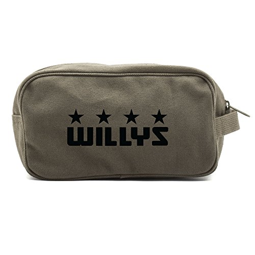 - Willys Jeep Freedom Stars Military Canvas Shower Kit Travel Toiletry Bag Case in Olive & Black