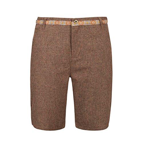 SHO-014;34 Mens Brown Lightweight Chino Shorts with Decorative Detail-Medium