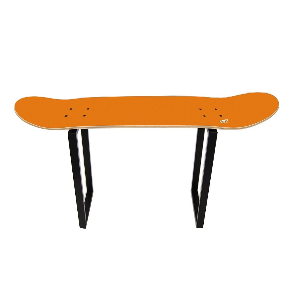 Shoe bench organizing entryway storage for Adult and Child skateboarders - Gift for sport fan - Skate bench orange