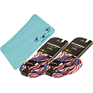 Croakies Cotton Suiters Patriotic Eyewear Retainer Sunglass Strap | XL Large End | Adjustable Eyeglass & Sports Glasses Holder Keeper Lanyard | 2pk Bundle + Cloth, USA American Flag