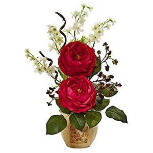 Nearly Natural 1447-RD Large Rose and Dancing Daisy in Wooden Pot 14