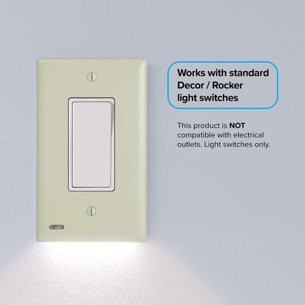 3 Pack Snappower Switchlight Led Night Light For Single Pole Light Switches Light Switch Plate With Led Night Lights Adjust Brightness Auto On Off Sensor Rocker Ivory