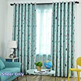 Net Polyester Tulle Thin Voile Rod Pocket Top Colorful Raindrop Printed Tulle Cyan Door Drape Living Room Balcony Window Curtains 75 inches in Width 96 inches in Length 1 Set of 2 Panels 150'' ZZCZZC