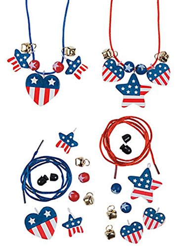 12 - Wooden Patriotic Necklace Craft Kits
