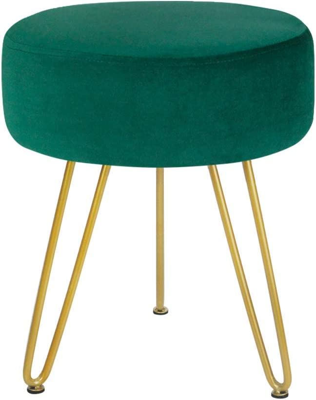 Velvet Footrest Stool Ottoman Round Modern Upholstered Vanity Footstool Side Table Seat Dressing Chair with Golden Metal Leg Teal