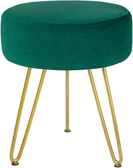Velvet Ottoman,Modern Round Foot Rest Stool Comfortable Thicken Upholstered Footstool Tufted Vanity Short Stools Gold Edge-a 36x45cm 14x18inch
