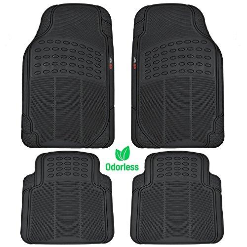 MotorTrend MT-754-BK Heavy Duty Rubber Floor Mats - Odorless - All Weather Protection - Semi Custom Fit (Matte Black) 4 Pack