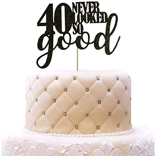 SWEETTALA 40 Never Looked So Good Cake Topper for 40th Birthday Wedding Anniversary Party Decorations Black Glitter