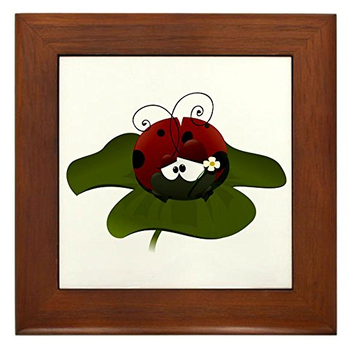 Framed Tile Cute Little Lady Bug Sitting on a Clover (Home Pets Framed Tile)
