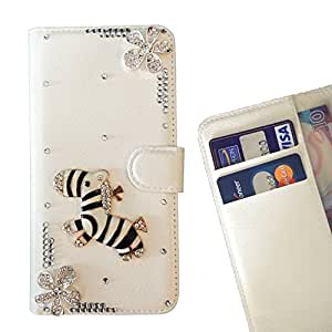 FOR Samsung GALAXY Note 4/N9100 Zebra Horse Bling Bling PU Leather Waller Holder Rhinestone - - OBBA