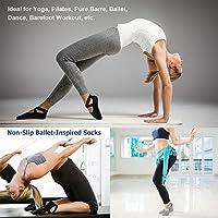 Ozaiic Women/'s Yoga Grip Socks Black Gray 2-Pairs Non-Slip Crisscross Straps