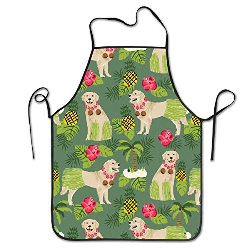 Dsiempwe Kitchen Apron Bib Aprons Women Men Professional Chef Aprons with Extra Long Ties - Golden Retriever Hula Dancer Dog, Waterproof Waiter Hostess Apron for Kitchen Dinner