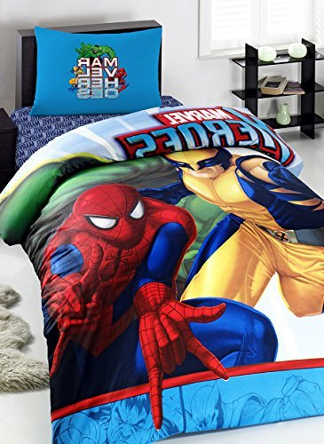 Price comparison product image Spiderman Super Heroes Boy's Quilt/Duvet Cover Set Single/Twin Size Kids Bedding 100% Turkish Cotton