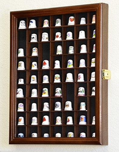 59-Opening Thimble Small Miniature Display Case Cabinet Rack Holder -Walnut Finish