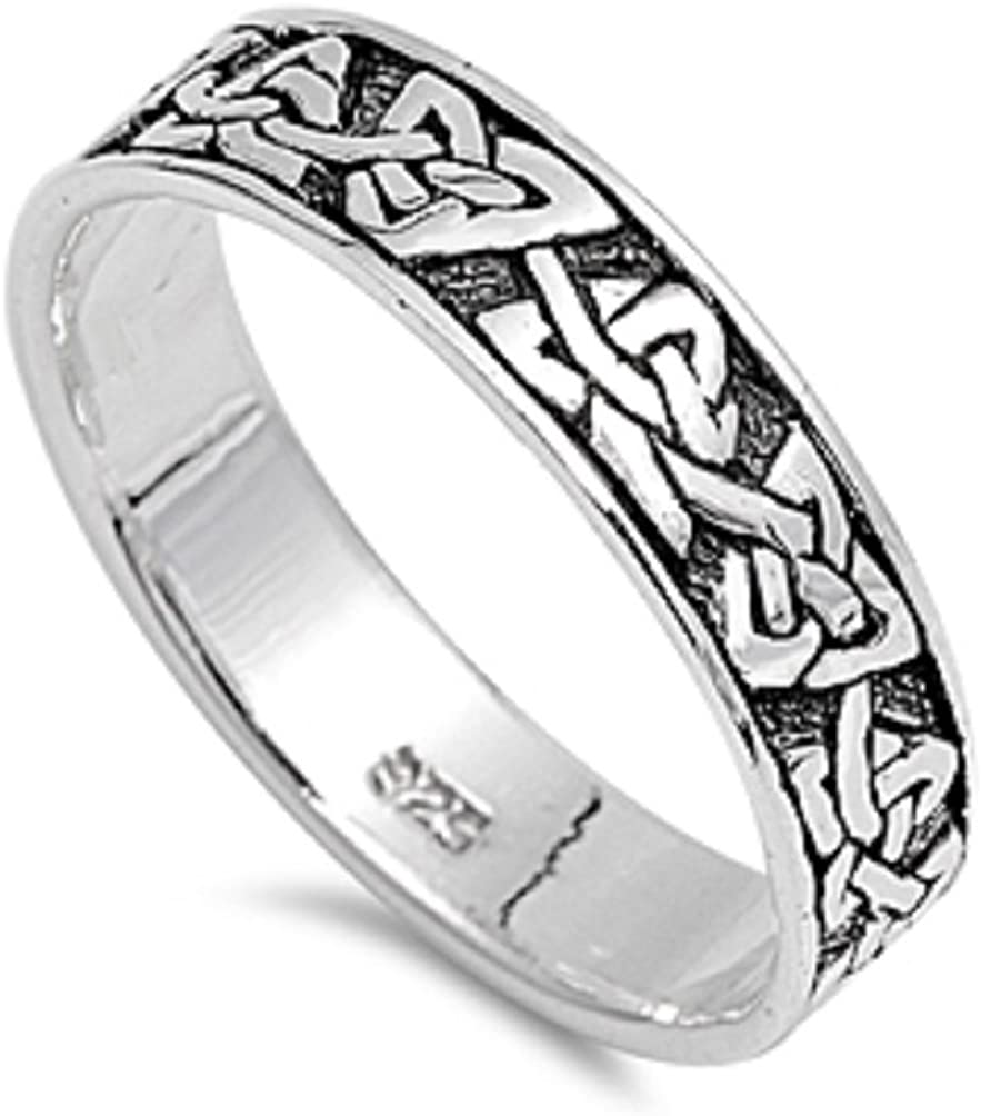 Princess Kylie 925 Sterling Silver Eternity Celtic Knot Wedding Band Ring