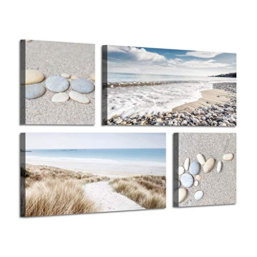 Seaside Scene Canvas Wall Art: Stone & Path on Beach Sand Giclee Artwork Painting on Canvas for Wall Decor(12''x12''x2panel+24''x12''x2panel)