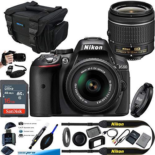 Nikon D5300 24.2 MP CMOS Digital SLR Camera with 18-55mm f/3.5-5.6G ED VR Auto Focus-S DX NIKKOR Zoom Lens (Black) – Essential Accessories Bundle