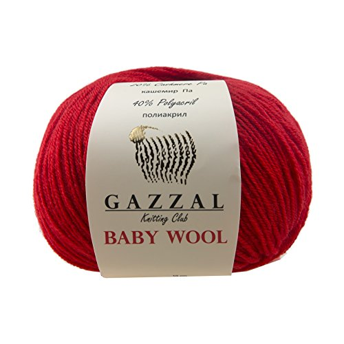 5 PACK - Gazzal Baby Wool 1.76 Oz (50g) / 218 Yards (200m) Fine Baby Yarn, 40% Lana Merino, 20% Cashmere Type Polyamide; (Red - 811)