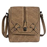 YingOnly Women Premium Faux leather Luxury design Casual Cross body Messenger Shoulder Bag (Brown)