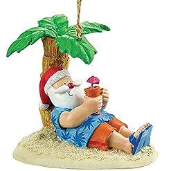Beach Themed Christmas Ornaments Cape Shore Santa Relaxing Under a Palm Tree Beach Break Holiday Ornament beach themed christmas ornaments