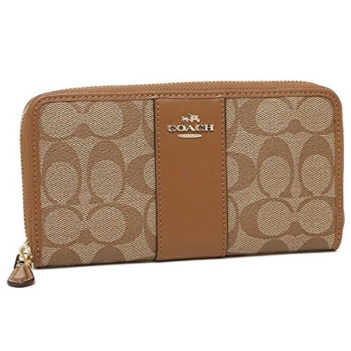 ACCORDION ZIP WALLET IN SIGNATURE COATED CANVAS WITH LEATHER STRIPE by Coach