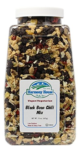 Harmony House Foods Chili Mix, Black Bean Chili, 15 Ounce Quart Size Jar