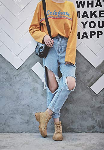 Stiefeletten Fashion LIANGXIE Martens Studenten Toe Booties Damen Stiefel Casual Outdoor Koreanische Beige Damen Boots Tooling Leder Stiefel High Stiefel Damen Shoes YtrYq