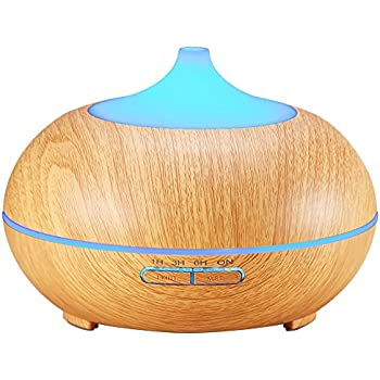 AMIR Wood Grain Essential Oil Diffuser, 300ml Cool Mist Ultrasonic Humidifier with 4 Timer Settings, 10 Hours Continuous Mist, Waterless Auto Shut-off, 7 Color LED Lights for Spa, Baby Room, Office