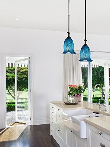 Blue Green Glass Pendant Light in US - 4