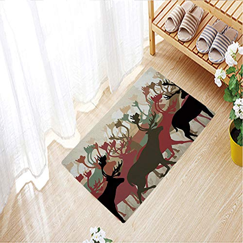(Nordic Carpets Crystal velvet 3D Printed Outdoor Mat Anti-slip for House Door Mat,19.7