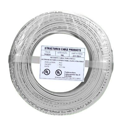 4C/22 AWG SOLID COPPER PVC COIL PACK- WHITE- 500 FT Distributed by NAC Wire and Cables