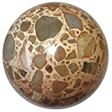 Jasper Safari Ball 3.1'' Collectible Peach Brown Gray Earth Mosaic Sphere Unique Crystal Healing Stone, Exact One C01