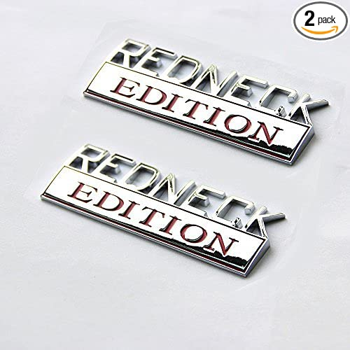 2x Small Size REDNECK EDITION Emblem 3D Alloy Metal Badge Decal Nameplate Fits for GM Chevy Silverado 1500 2500HD Universal Car Truck Black /& Red