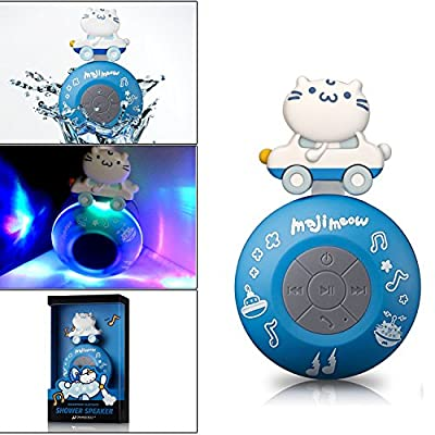 Wireless Bluetooth Speaker, Orange Bolt X Maji Meow Limited Edition Water Proof Resistant Shower Speaker Handsfree Portable Speakerphone with Built-in Mic Compatible with iPhone iPad Android